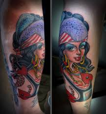 gold rush pirate pin up tattoo tim hendricks the best pin up