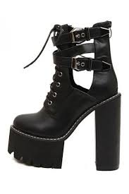 womens boots leather black black leather lace up platforms chunky sole heels ankle