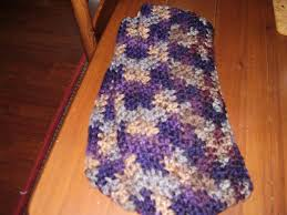 chunky circle scarf in muted blue purple tan and grey