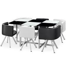 table de cuisine avec chaise encastrable menzzo 803c contemporain mosaic xl table métal verre noir blanc 90 x