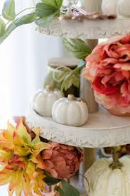 style tiered tray fall faux floral arrangements