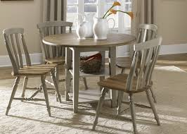 Casual Dining Room Tables by Drop Leaf Leg Round Dining Table With Solids Rubberwood Driftwood