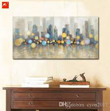 Posters For Living Room by 2017 Night View New York City Skyline Modern Canvas Oil Painting