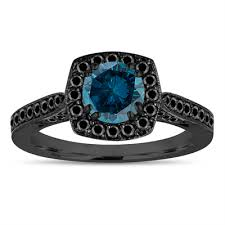 black and blue wedding rings vintage style blue diamond engagement ring 14k black gold fancy