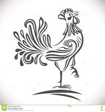 black and white ornamental rooster stock vector image 79210946