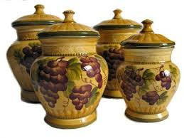 tuscan kitchen canisters sets 4pc ceramic canister set tuscany grape by ack http amazon com