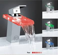 Led Bathroom Fixtures Single Lever Glass Waterfall Led Wash Basin Mixer Led Waterfall