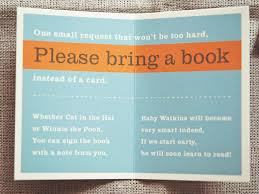 baby shower instead of a card bring a book baby shower idea one small request that won t be