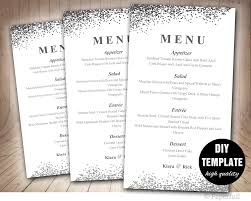 wedding menu template in silver menu template diy wedding menu
