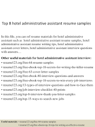 resume templates for administrative assistants top8hoteladministrativeassistantresumesamples 150529143030 lva1 app6892 thumbnail 4 jpg cb 1432909875