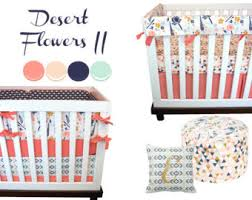 Navy And Coral Crib Bedding Coral Mint Cribset Etsy