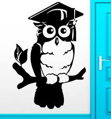 Wise Decor by Wall Sticker Owl Birds Smart Wise College Graduation Decor Living