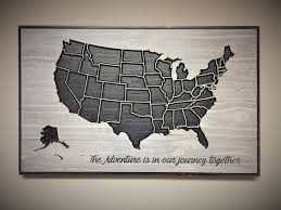 Home Wall Decor by Travel Wall Decor Adventure Map Wooden Us Map Wood Wall Art