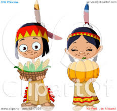 clipart of thanksgiving american indian children with