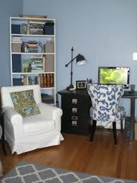 reading space alternative decor with white wooden bookcase and