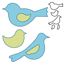 this die cuts three birds complete with separate wing pieces pair
