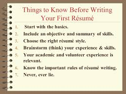 Writing First Resume No Experience Amusing How To Write Your First Resume 14 Resume For Job Seeker