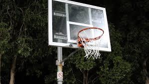 Backyard Basketball Hoops Ball Going Through Basket Hoop In Backyard Amateur Basketball
