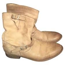 tan biker boots beige leather belstaff boots vestiaire collective