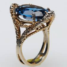 silver topaz rings images Gold dusted sterling silver blue topaz ring vintageanelia on artfire jpg