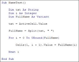 excel vba programming the split function