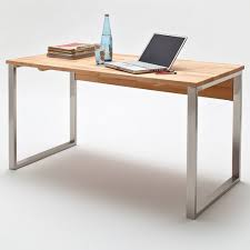 bureau bois acier bureau design en bois massif hêtre et cadre en acier brossé 140 cm