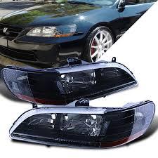 Honda Accord Lights Ikon Jdm Crystal Style Black Headlights W Amber Reflector For