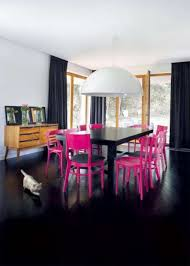 curtains dining room contemporary dining room with pink chairs and black dining table