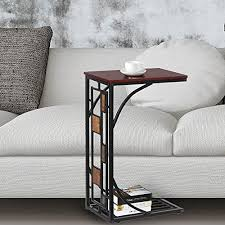 topeakmart c shaped side sofa snack table coffee tray end table