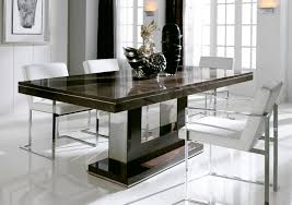 small modern square white dining table design with grey leather