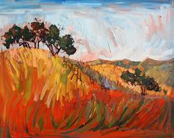 red and gold summer hills painted in vibrant color by oil painter