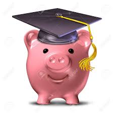 graduation piggy bank saving for an education represented by a graduation cap and school