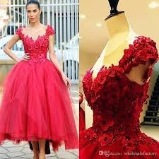 2017 red ball gown prom party dresses 3d floral appliques hi lo