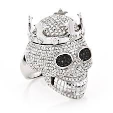 diamond king rings images Real hip hop jewelry mens diamond skull ring 10k gold king crown jpg