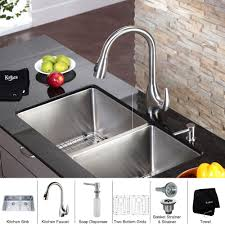 kitchen silver sink soap dispenser matched with sink and faucet