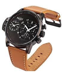 bracelet homme montre images Montre homme bracelet en cuir marron double cadran montre jpg