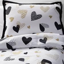 hello hearts comforter set full queen 3 pc black u0026white