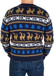 s retro reindeer sweater blue