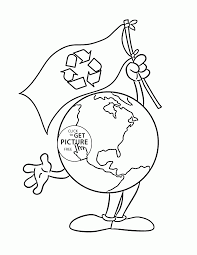 earth with flag earth day coloring page for kids coloring pages
