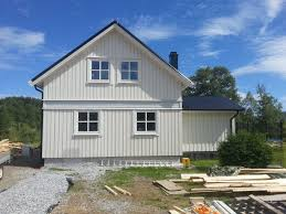 prefab house contemporary wooden frame two story norway