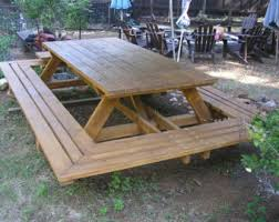 Redwood Patio Table Picnic Table Etsy
