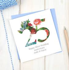 Invitation Cards For 25th Wedding Anniversary Personalised Floral Ruby 40th Wedding Anniversary Card By Chi Chi