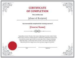 wording for certificate of completion certificate of completion