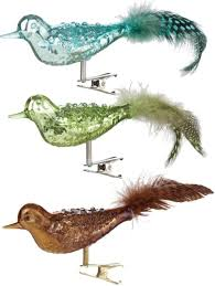 clip bird ornaments with feathers