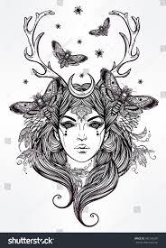 hand drawn beautiful artwork banshee portriat stock vector