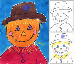 art projects for kids scarecrow portrait tutorial painting