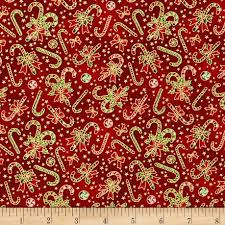seasons greetings candy canes red from fabricdotcom from fabri