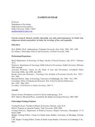 Hobbies And Interests For A Resume Sundar Resume 2012 Sociology Anthropology
