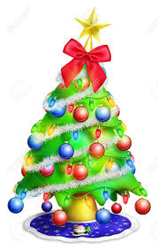 cartoon christmas tree with ornaments stock photo picture and