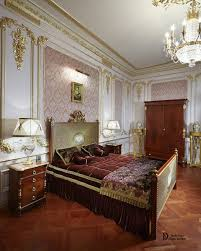 luxurious bedroom in neoclassic style with gilded stucco moldings